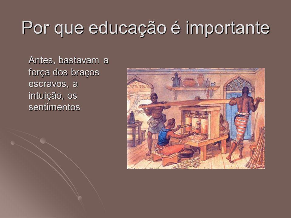 Por que educação é importante Antes, bastavam a força dos braços escravos, a intuição, os sentimentos