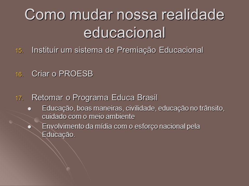15. Instituir um sistema de Premiação Educacional 16. Criar o PROESB 17. Retomar o Programa Educa Brasil Educação, boas maneiras, civilidade, educação