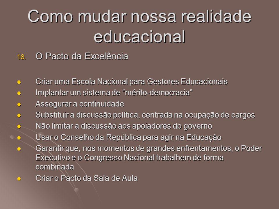 18. O Pacto da Excelência Criar uma Escola Nacional para Gestores Educacionais Criar uma Escola Nacional para Gestores Educacionais Implantar um siste
