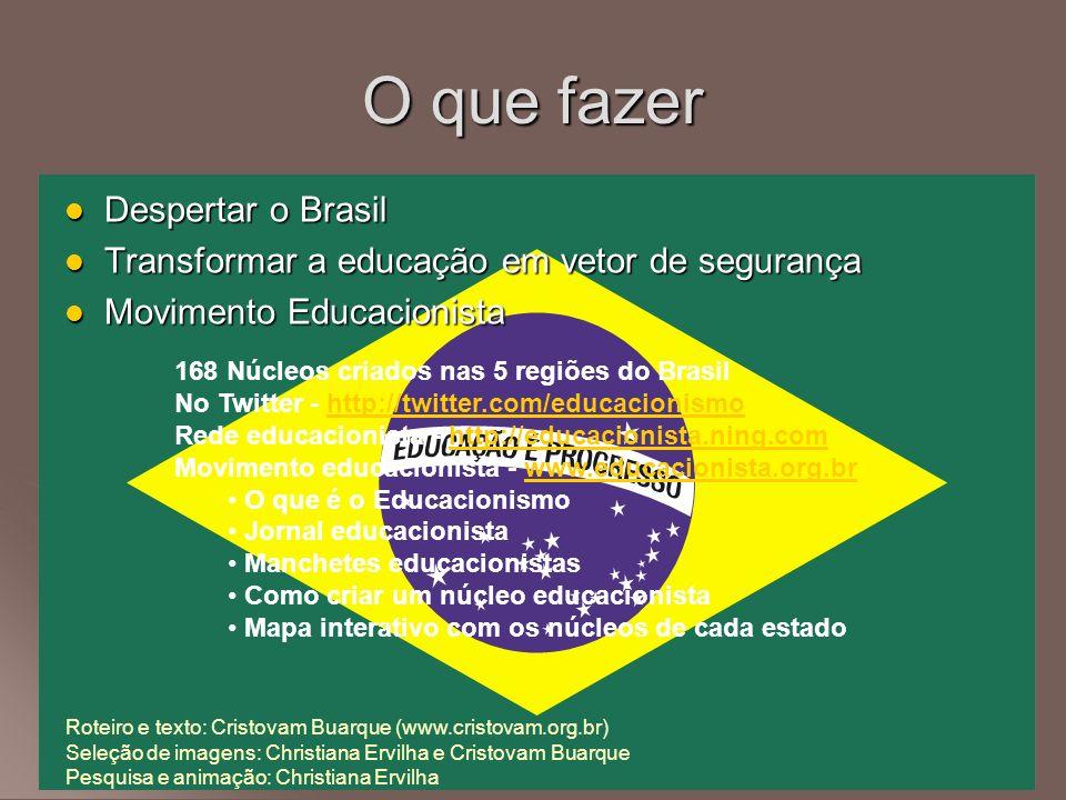 Despertar o Brasil Despertar o Brasil Transformar a educação em vetor de segurança Transformar a educação em vetor de segurança Movimento Educacionist