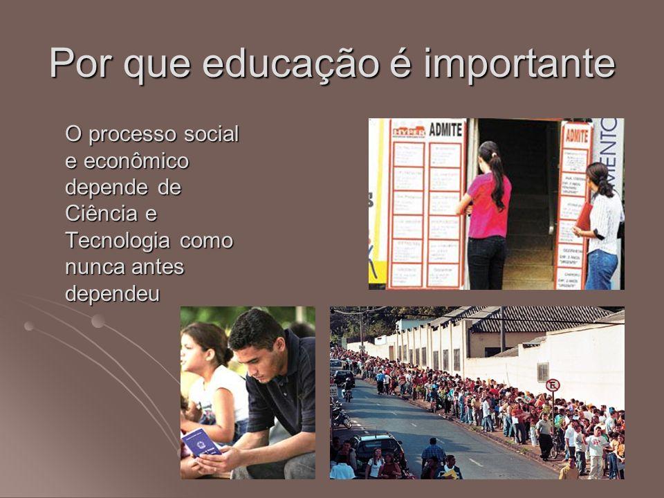 Por que educação é importante O processo social e econômico depende de Ciência e Tecnologia como nunca antes dependeu