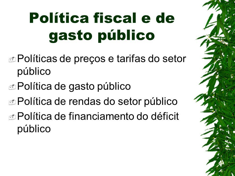 Política fiscal e de gasto público Políticas de preços e tarifas do setor público Política de gasto público Política de rendas do setor público Políti