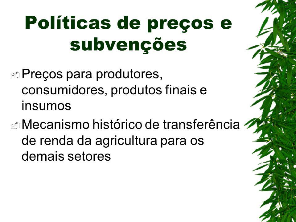 Políticas de preços e subvenções Preços para produtores, consumidores, produtos finais e insumos Mecanismo histórico de transferência de renda da agri