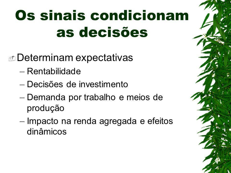 Determinam expectativas –Rentabilidade –Decisões de investimento –Demanda por trabalho e meios de produção –Impacto na renda agregada e efeitos dinâmi