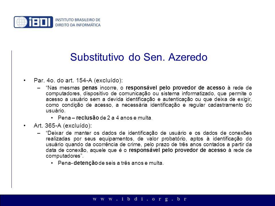 Substitutivo do Sen. Azeredo Par. 4o. do art. 154-A (excluído): –Nas mesmas penas incorre, o responsável pelo provedor de acesso à rede de computadore