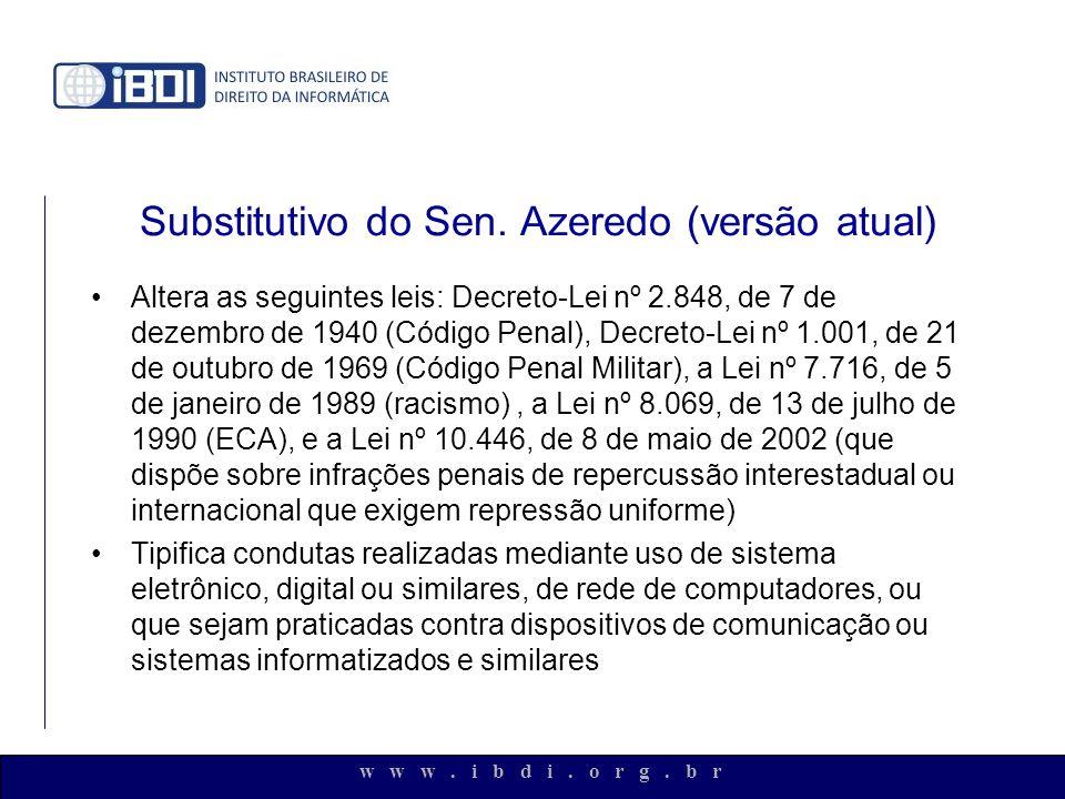 w w w. i b d i. o r g. b r Substitutivo do Sen. Azeredo (versão atual) Altera as seguintes leis: Decreto-Lei nº 2.848, de 7 de dezembro de 1940 (Códig