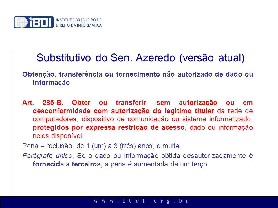 w w w. i b d i. o r g. b r Substitutivo do Sen. Azeredo (versão atual) Obtenção, transferência ou fornecimento não autorizado de dado ou informação Ar
