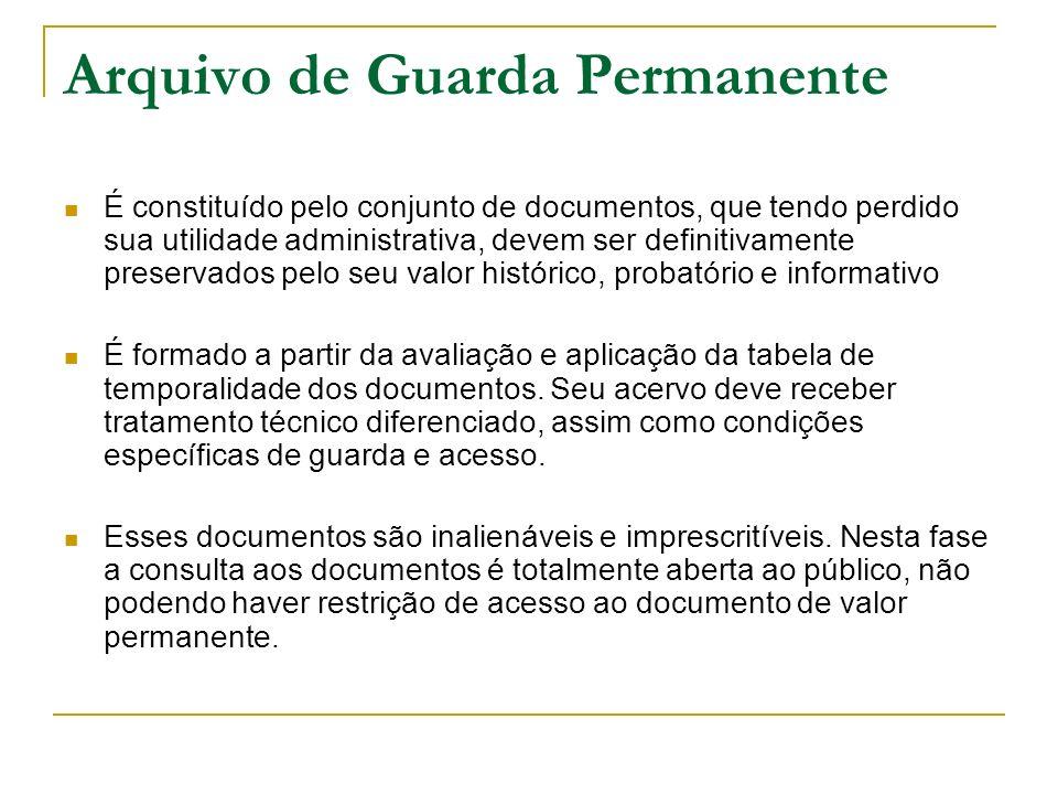Arquivo de Guarda Permanente É constituído pelo conjunto de documentos, que tendo perdido sua utilidade administrativa, devem ser definitivamente pres
