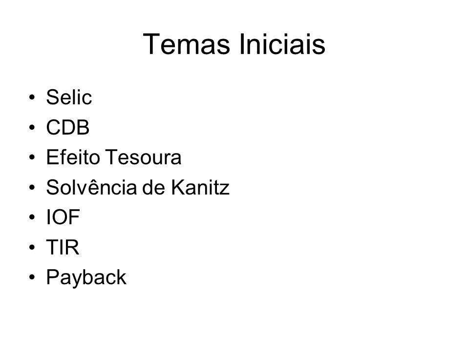 Temas Iniciais Selic CDB Efeito Tesoura Solvência de Kanitz IOF TIR Payback