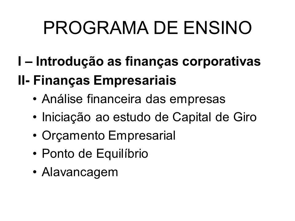 PROGRAMA DE ENSINO I – Introdução as finanças corporativas II- Finanças Empresariais Análise financeira das empresas Iniciação ao estudo de Capital de