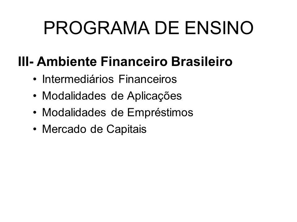PROGRAMA DE ENSINO III- Ambiente Financeiro Brasileiro Intermediários Financeiros Modalidades de Aplicações Modalidades de Empréstimos Mercado de Capi
