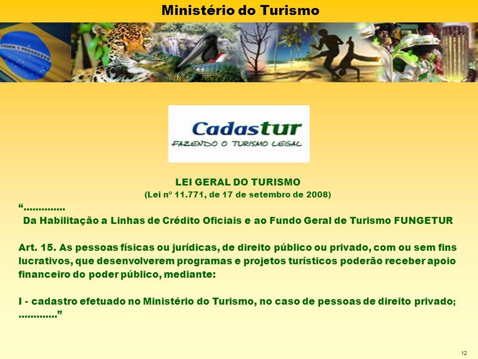 Ministério do Turismo 12 LEI GERAL DO TURISMO (Lei nº 11.771, de 17 de setembro de 2008).............. Da Habilitação a Linhas de Crédito Oficiais e a