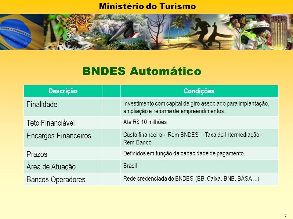 Ministério do Turismo 3 DescriçãoCondições Finalidade Investimento com capital de giro associado para implantação, ampliação e reforma de empreendimen