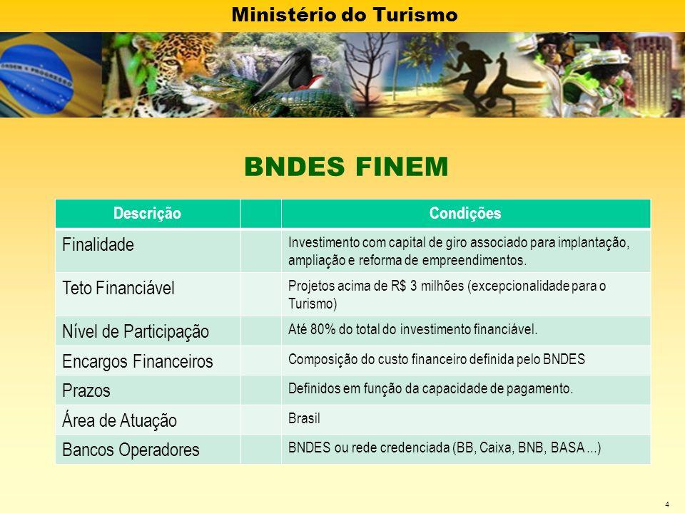 Ministério do Turismo 5 DescriçãoCondições Finalidade Aquisição isolada de máquinas e equipamentos novos, de fabricação nacional, credenciados pelo BNDES e capital de giro associado.