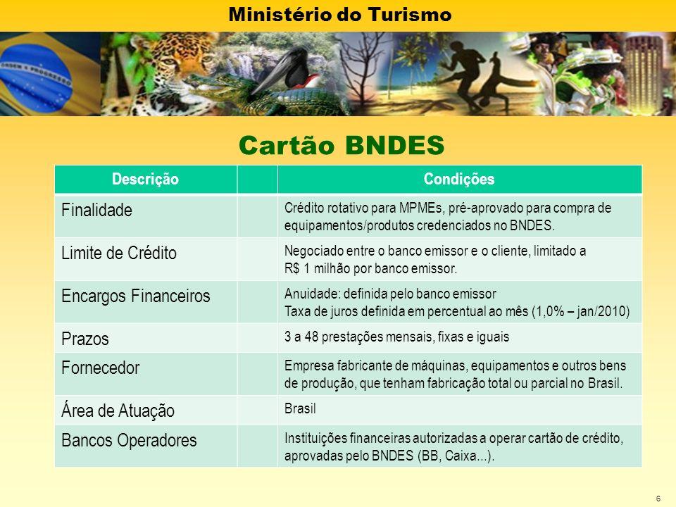 Ministério do Turismo 6 DescriçãoCondições Finalidade Crédito rotativo para MPMEs, pré-aprovado para compra de equipamentos/produtos credenciados no B