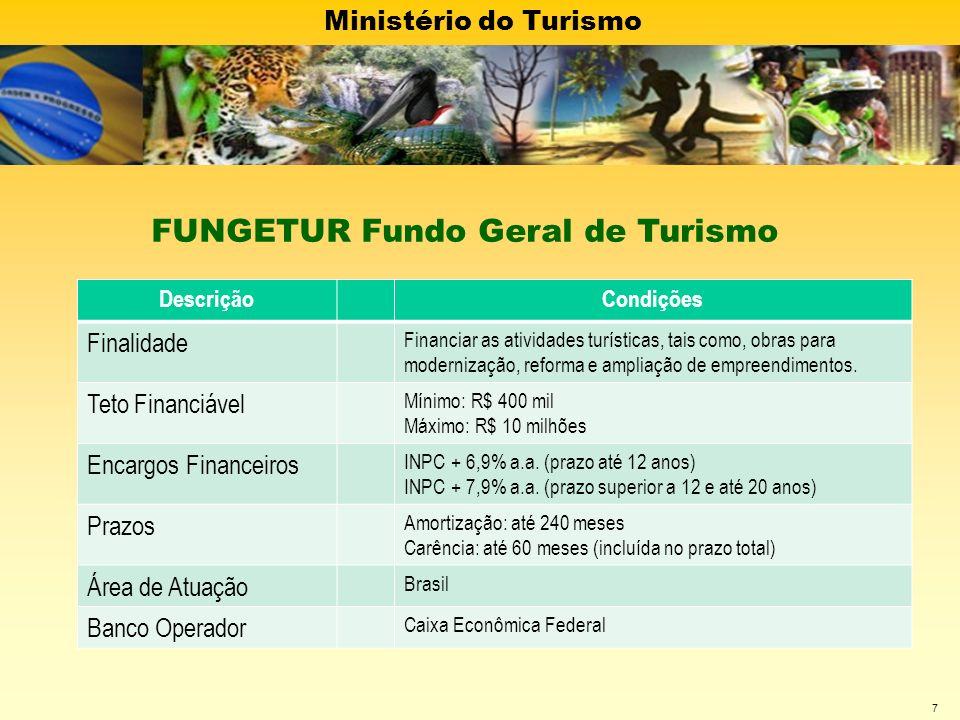 Ministério do Turismo 7 DescriçãoCondições Finalidade Financiar as atividades turísticas, tais como, obras para modernização, reforma e ampliação de e