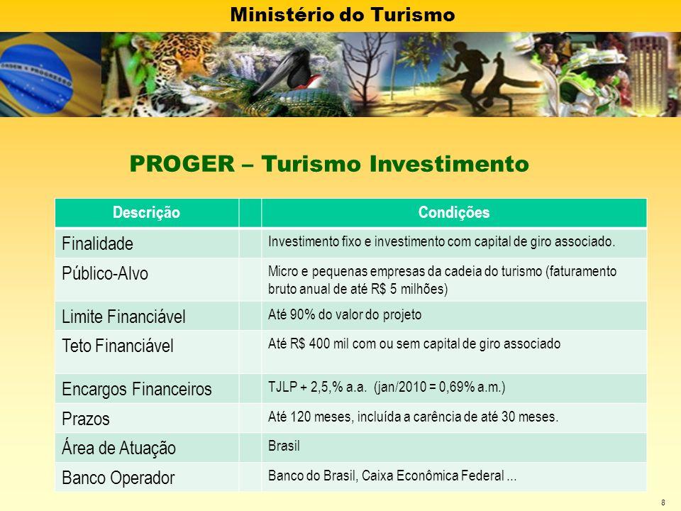 Ministério do Turismo 8 DescriçãoCondições Finalidade Investimento fixo e investimento com capital de giro associado. Público-Alvo Micro e pequenas em