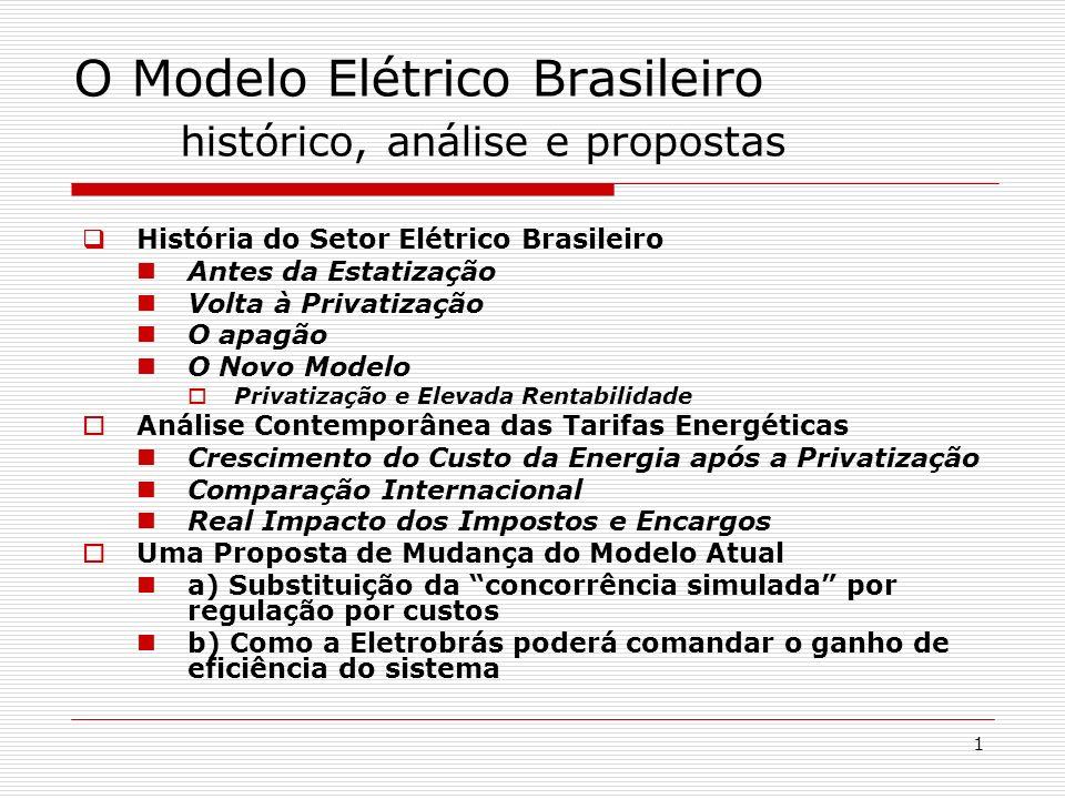 1 O Modelo Elétrico Brasileiro histórico, análise e propostas História do Setor Elétrico Brasileiro Antes da Estatização Volta à Privatização O apagão