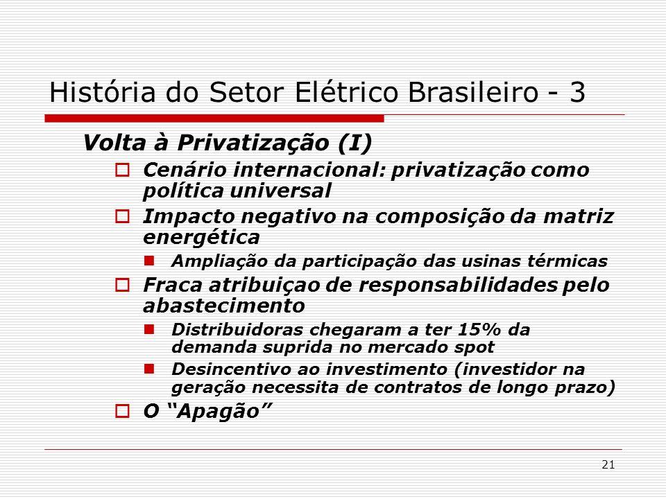 21 Volta à Privatização (I) Cenário internacional: privatização como política universal Impacto negativo na composição da matriz energética Ampliação