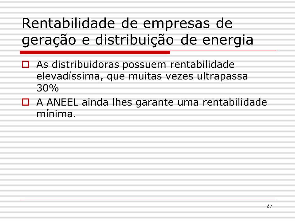 27 Rentabilidade de empresas de geração e distribuição de energia As distribuidoras possuem rentabilidade elevadíssima, que muitas vezes ultrapassa 30