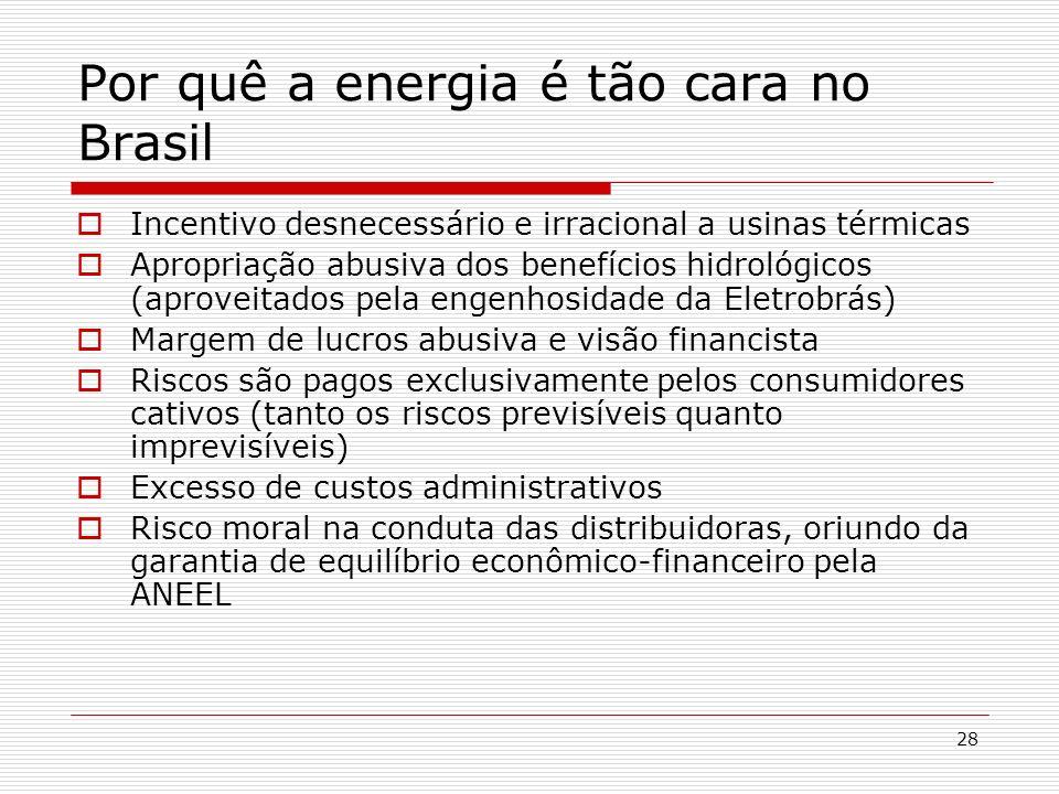 28 Por quê a energia é tão cara no Brasil Incentivo desnecessário e irracional a usinas térmicas Apropriação abusiva dos benefícios hidrológicos (apro