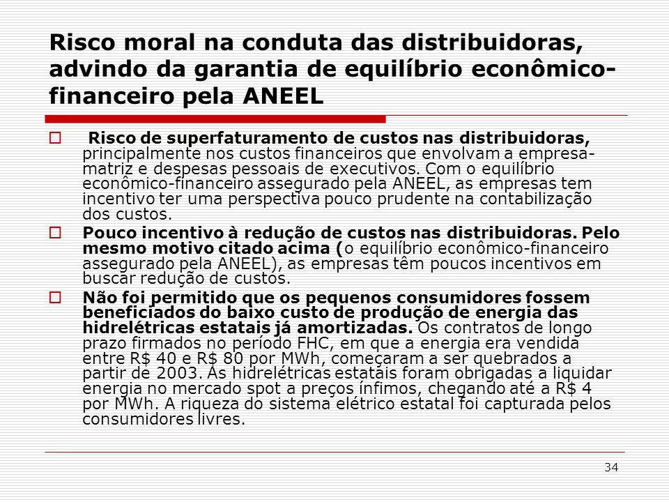 34 Risco moral na conduta das distribuidoras, advindo da garantia de equilíbrio econômico- financeiro pela ANEEL Risco de superfaturamento de custos n