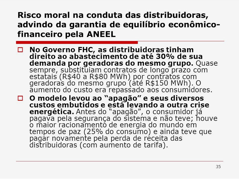 35 Risco moral na conduta das distribuidoras, advindo da garantia de equilíbrio econômico- financeiro pela ANEEL No Governo FHC, as distribuidoras tin