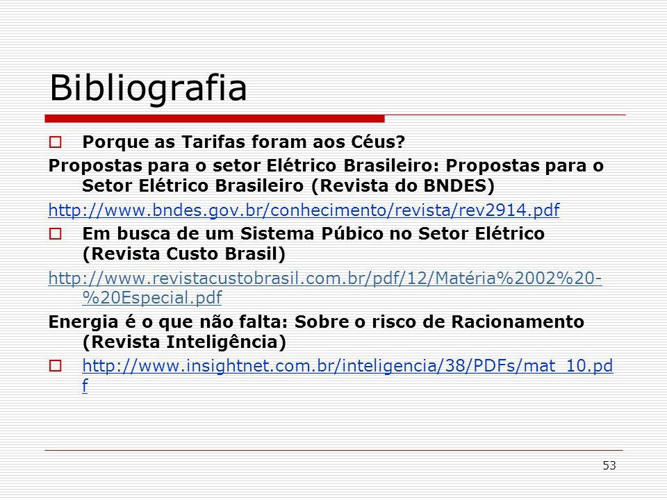 53 Bibliografia Porque as Tarifas foram aos Céus? Propostas para o setor Elétrico Brasileiro: Propostas para o Setor Elétrico Brasileiro (Revista do B