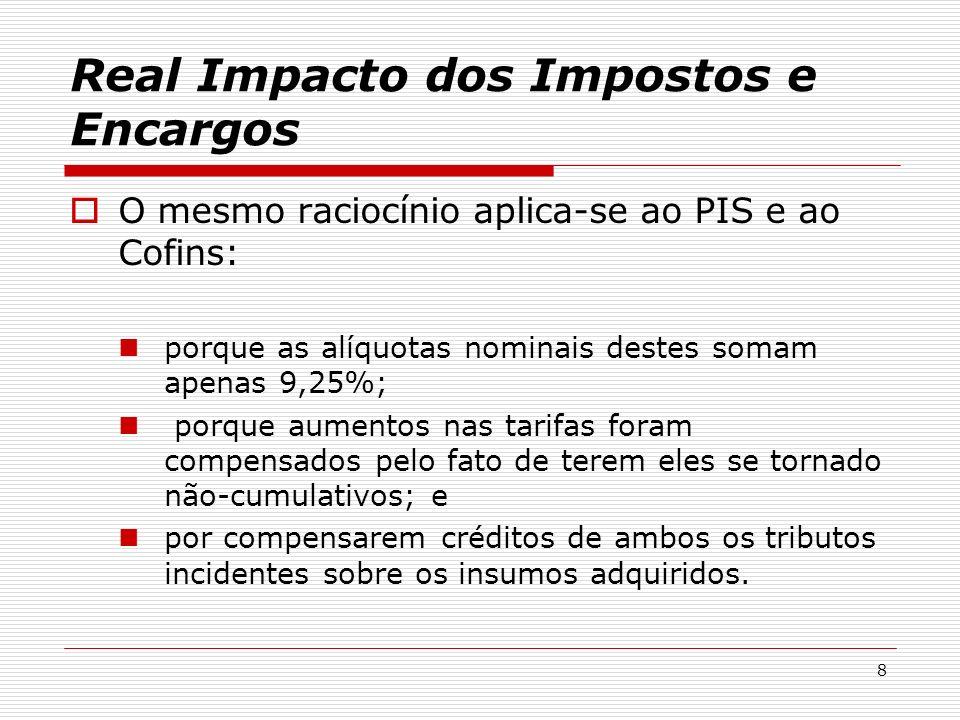 9 Alíquota brutaAlíquota efetiva (*) alíquota até 2002 alíquota após 2002 alíquota até 2002 alíquota após 2002 PIS não- cumulativo 0,65%1,65%0,65% 5,55% (**) Cofins não- cumulativo 3%7,60%3% (*) líquido da compensação dos insumos (**) estimativa Light S.A Real Impacto dos Impostos e Encargos