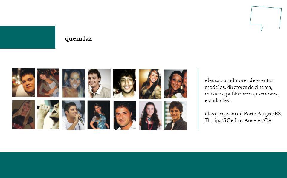 quem faz eles são produtores de eventos, modelos, diretores de cinema, músicos, publicitários, escritores, estudantes. eles escrevem de Porto Alegre/R