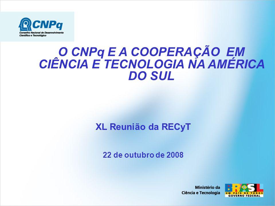O CNPq E A COOPERAÇÃO EM CIÊNCIA E TECNOLOGIA NA AMÉRICA DO SUL XL Reunião da RECyT 22 de outubro de 2008