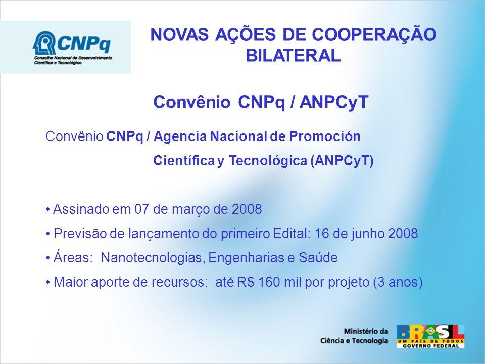 Convênio CNPq / ANPCyT Convênio CNPq / Agencia Nacional de Promoción Científica y Tecnológica (ANPCyT) Assinado em 07 de março de 2008 Previsão de lançamento do primeiro Edital: 16 de junho 2008 Áreas: Nanotecnologias, Engenharias e Saúde Maior aporte de recursos: até R$ 160 mil por projeto (3 anos) NOVAS AÇÕES DE COOPERAÇÃO BILATERAL