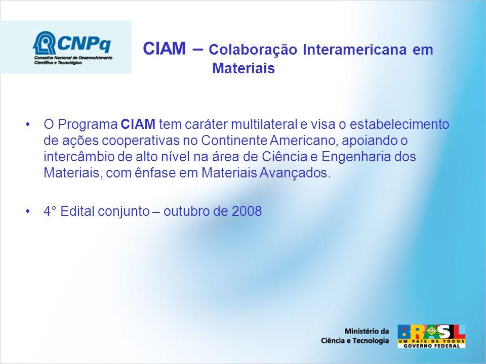 O Programa CIAM tem caráter multilateral e visa o estabelecimento de ações cooperativas no Continente Americano, apoiando o intercâmbio de alto nível na área de Ciência e Engenharia dos Materiais, com ênfase em Materiais Avançados.
