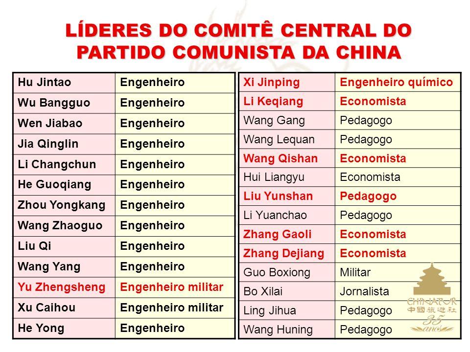 LÍDERES DO COMITÊ CENTRAL DO PARTIDO COMUNISTA DA CHINA Hu JintaoEngenheiro Wu BangguoEngenheiro Wen JiabaoEngenheiro Jia QinglinEngenheiro Li Changch