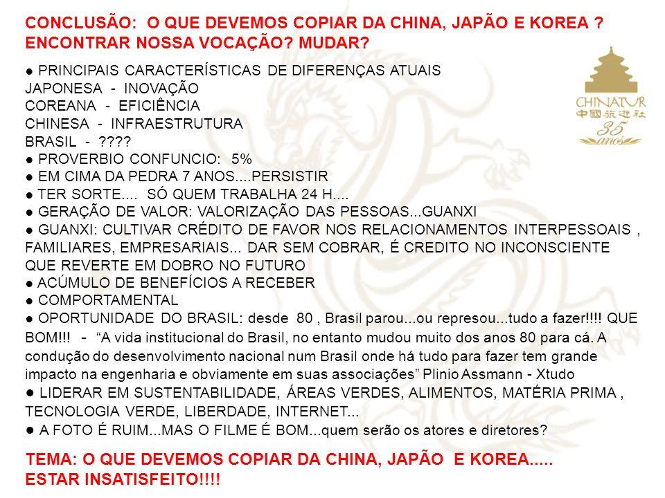 CONCLUSÃO: O QUE DEVEMOS COPIAR DA CHINA, JAPÃO E KOREA ? ENCONTRAR NOSSA VOCAÇÃO? MUDAR? PRINCIPAIS CARACTERÍSTICAS DE DIFERENÇAS ATUAIS JAPONESA - I