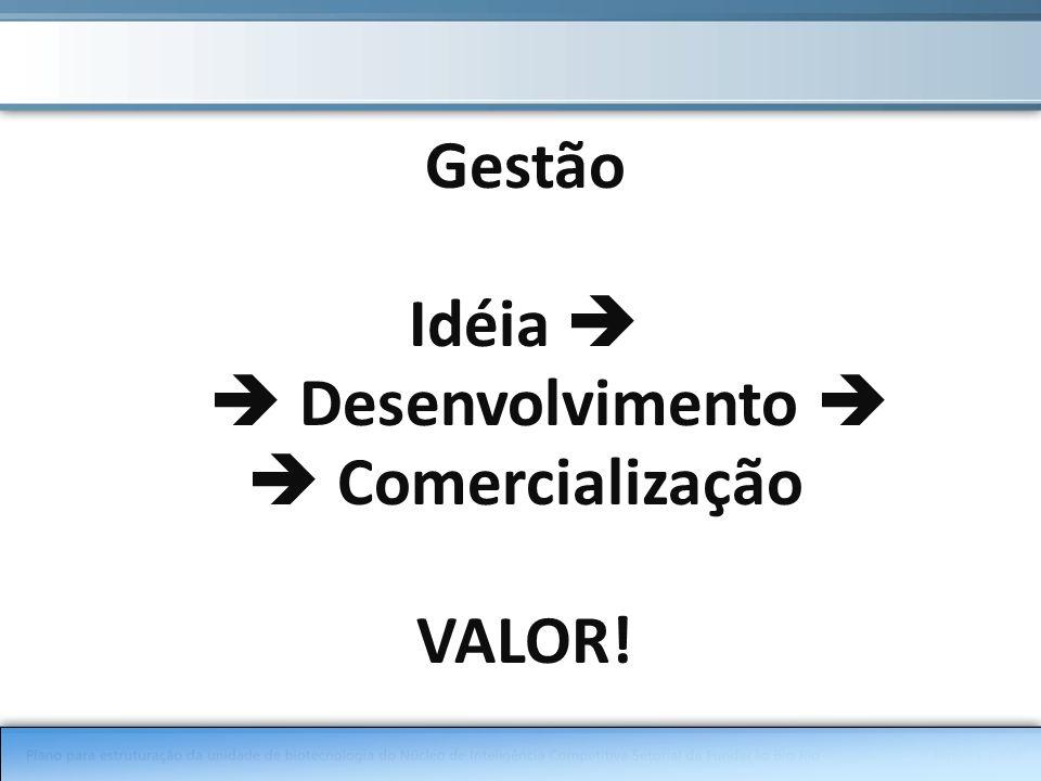 Gestão Idéia Desenvolvimento Comercialização VALOR!