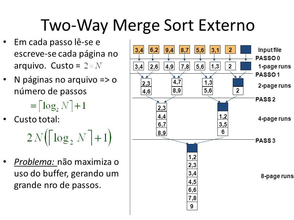 Two-Way Merge Sort Externo Em cada passo lê-se e escreve-se cada página no arquivo. Custo = N páginas no arquivo => o número de passos Custo total: Pr
