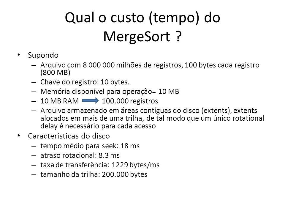 Qual o custo (tempo) do MergeSort ? Supondo – Arquivo com 8 000 000 milhões de registros, 100 bytes cada registro (800 MB) – Chave do registro: 10 byt