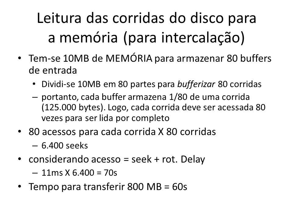 Leitura das corridas do disco para a memória (para intercalação) Tem-se 10MB de MEMÓRIA para armazenar 80 buffers de entrada Dividi-se 10MB em 80 part