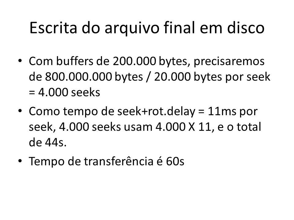 Escrita do arquivo final em disco Com buffers de 200.000 bytes, precisaremos de 800.000.000 bytes / 20.000 bytes por seek = 4.000 seeks Como tempo de