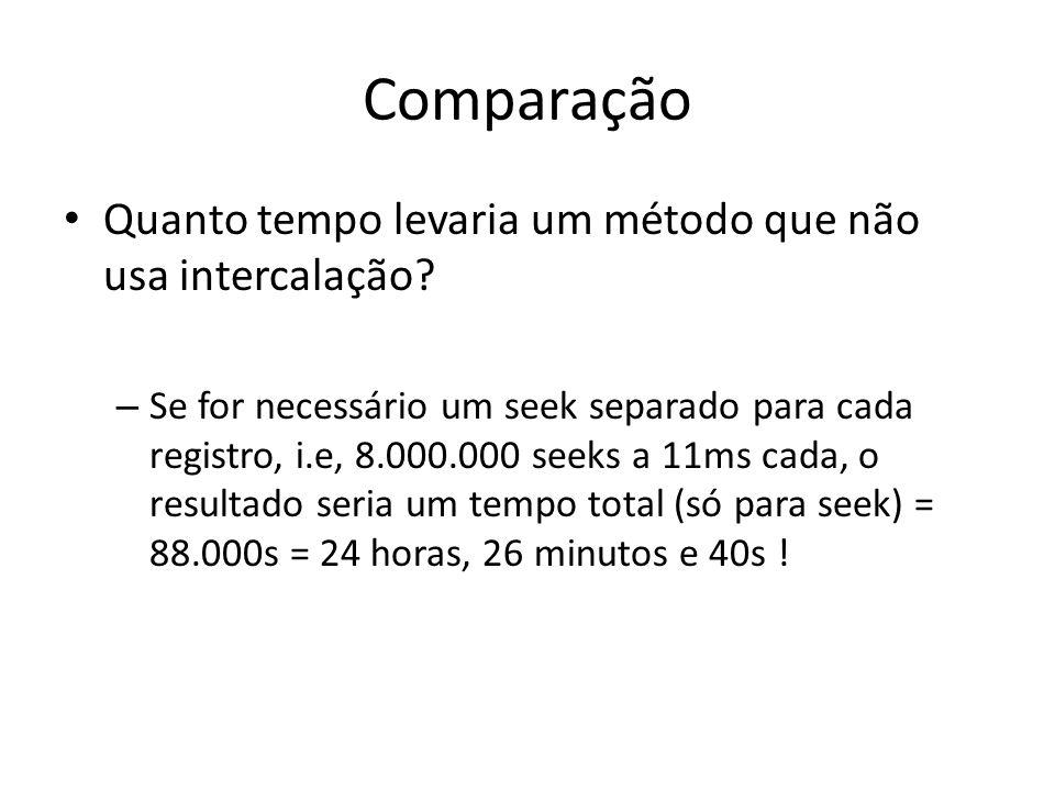 Comparação Quanto tempo levaria um método que não usa intercalação? – Se for necessário um seek separado para cada registro, i.e, 8.000.000 seeks a 11