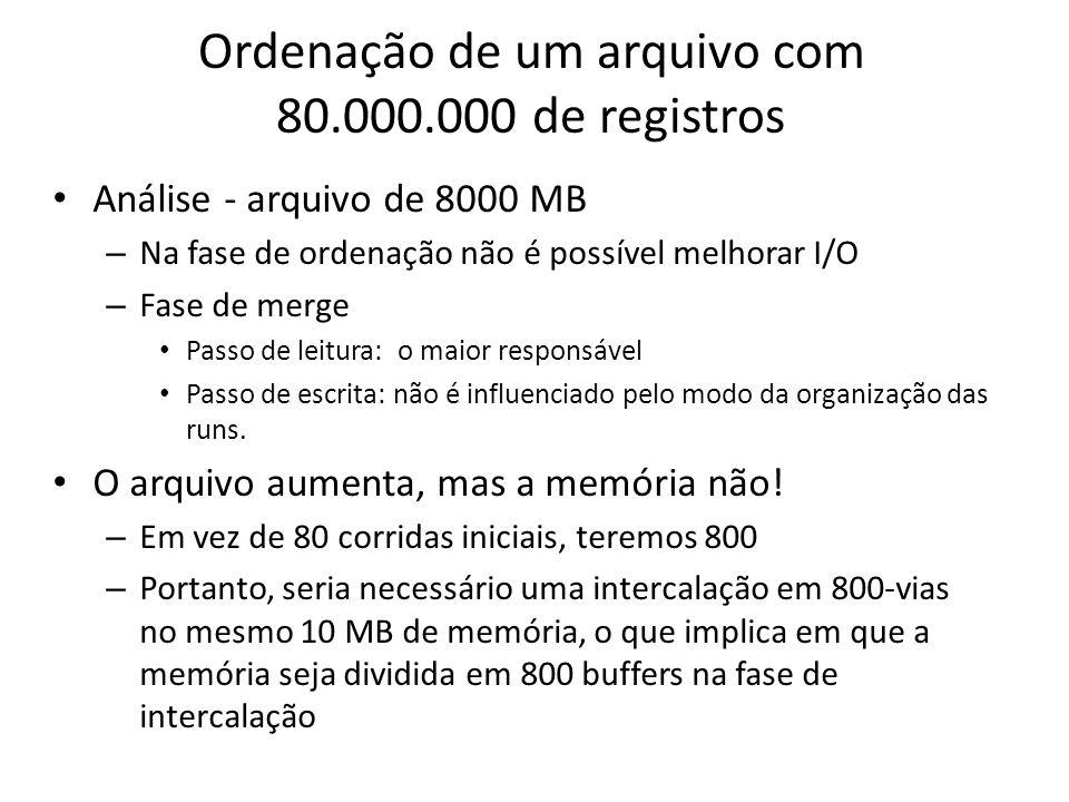 Ordenação de um arquivo com 80.000.000 de registros Análise - arquivo de 8000 MB – Na fase de ordenação não é possível melhorar I/O – Fase de merge Pa