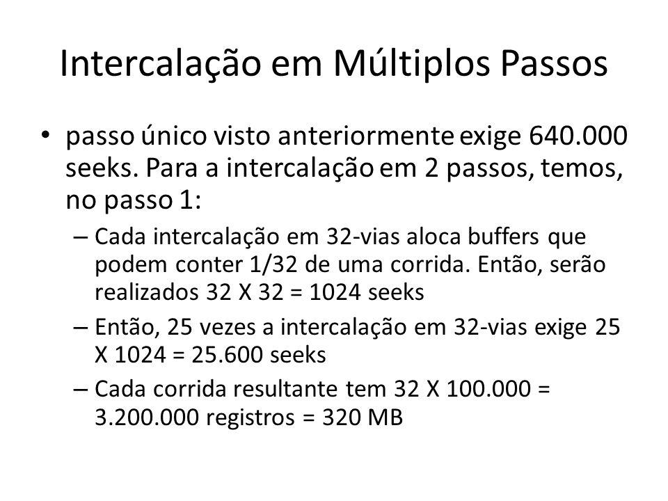 Intercalação em Múltiplos Passos passo único visto anteriormente exige 640.000 seeks. Para a intercalação em 2 passos, temos, no passo 1: – Cada inter