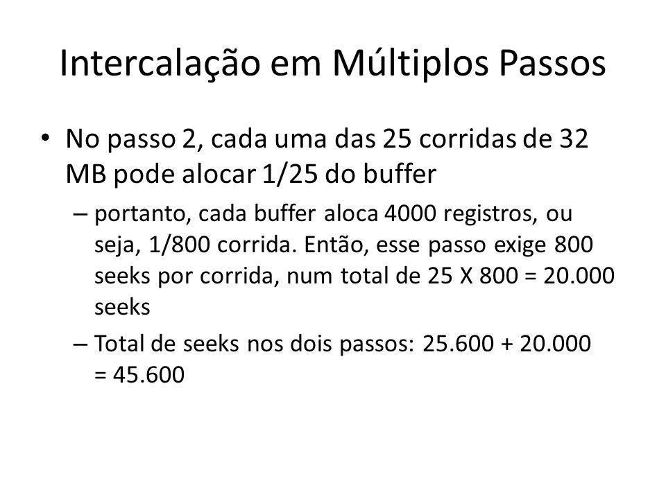 Intercalação em Múltiplos Passos No passo 2, cada uma das 25 corridas de 32 MB pode alocar 1/25 do buffer – portanto, cada buffer aloca 4000 registros