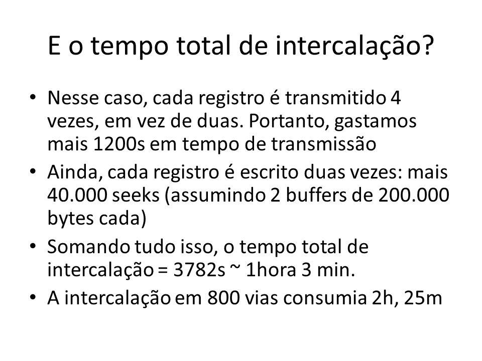 E o tempo total de intercalação? Nesse caso, cada registro é transmitido 4 vezes, em vez de duas. Portanto, gastamos mais 1200s em tempo de transmissã