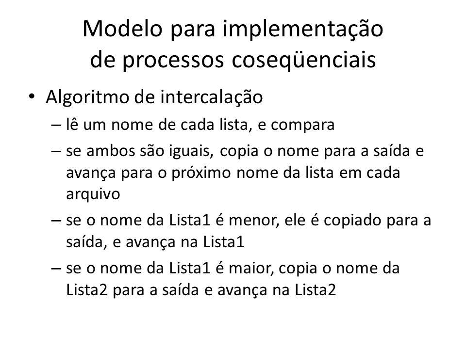 Modelo para implementação de processos coseqüenciais Algoritmo de intercalação – lê um nome de cada lista, e compara – se ambos são iguais, copia o no