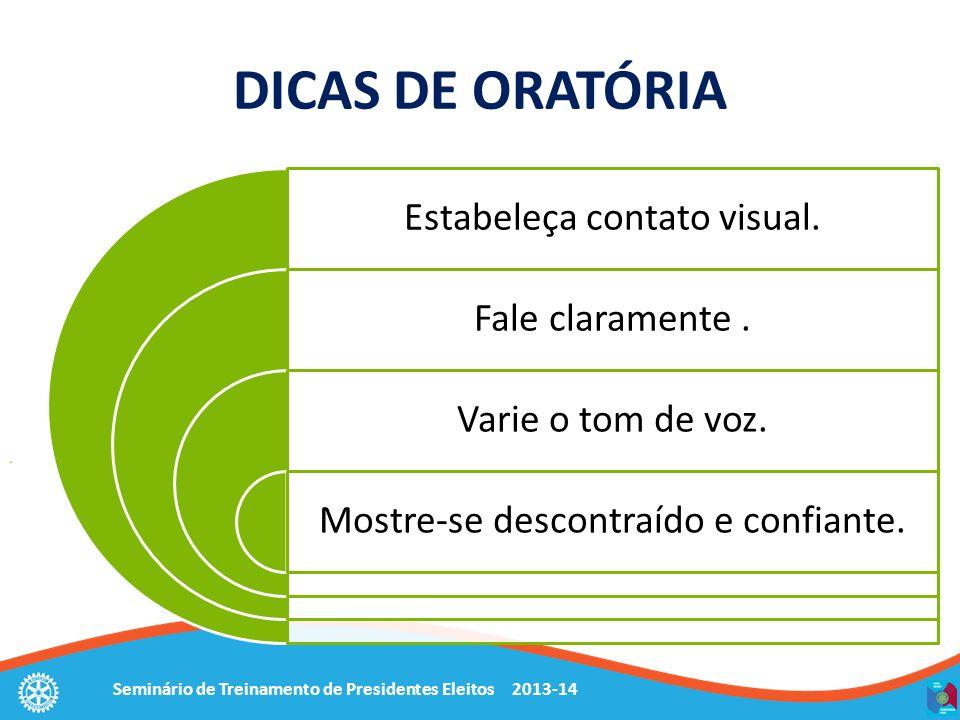 Seminário de Treinamento de Presidentes Eleitos 2013-14 DICAS DE ORATÓRIA Estabeleça contato visual. Fale claramente. Varie o tom de voz. Mostre-se de