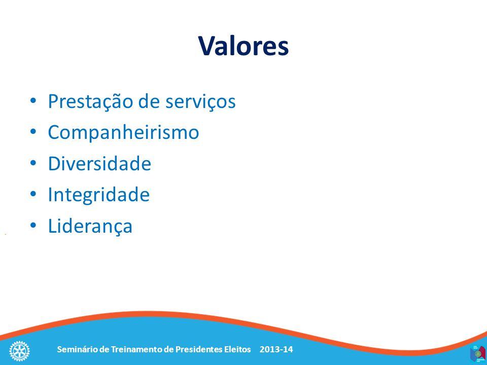 Seminário de Treinamento de Presidentes Eleitos 2013-14 Valores Prestação de serviços Companheirismo Diversidade Integridade Liderança