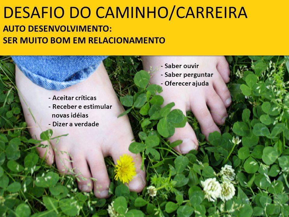 DESAFIO DO CAMINHO/CARREIRA AUTO DESENVOLVIMENTO: SER MUITO BOM EM RELACIONAMENTO - Aceitar críticas - Receber e estimular novas idéias - Dizer a verd