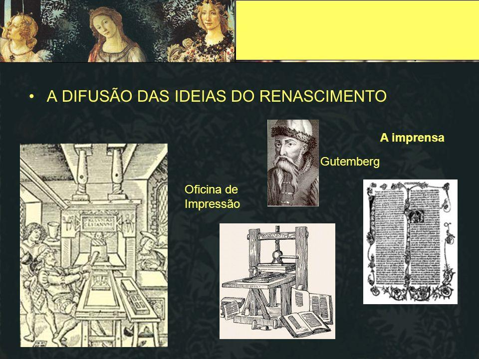 A DIFUSÃO DAS IDEIAS DO RENASCIMENTO Oficina de Impressão Gutemberg A imprensa